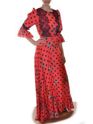 Платье W Les Femmes красное в черный горох