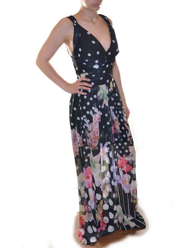 Платье W Les Femmes с цветами в белый горох