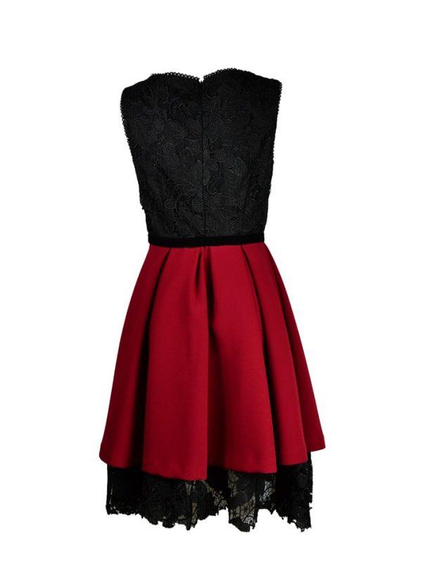 Платье Babylon бордовое с гипюром