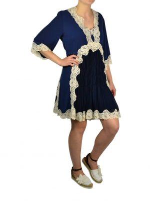 Платье Eureka синее c белым кружевом