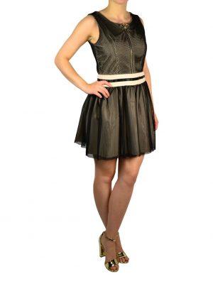 Платье Gil Santucci бежевое в черную сеточку
