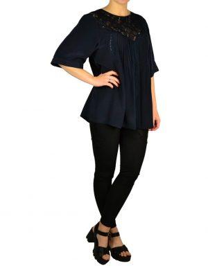 Блуза Twin-Set шелковая с гипюром