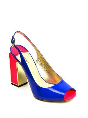 Босоножки Twi... лаковые на широком цветном каблуке