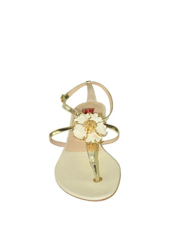 Босоножки Ballin золотые с белым цветком