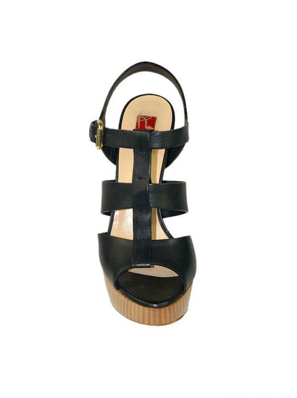 Босоножки Ballin кожаные черные на деревянной подошве