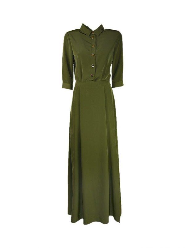 Платье Imperial зеленого цвета длинное с разрезами