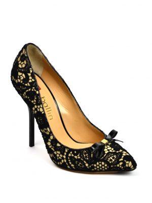 Туфли Ballin бежевые с черной вышивкой