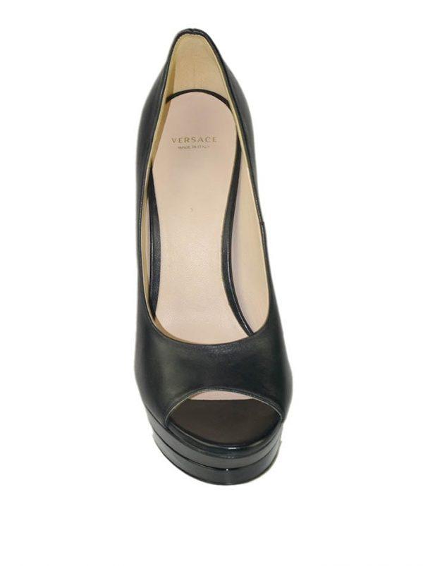 Туфли Versace черные на лаковой шпильке