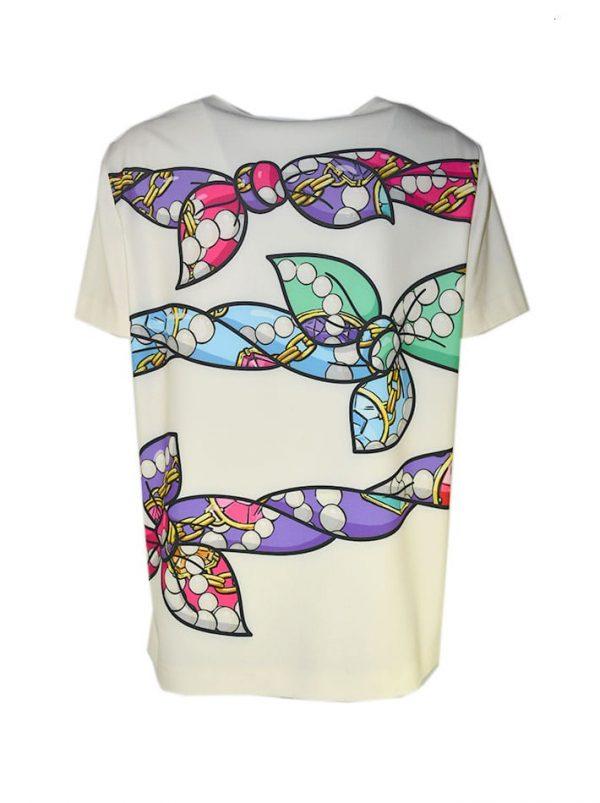 Блуза Boutique Moschino молочного цвета с разноцветными бантами