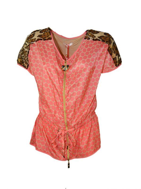 Кофта VDP c розовыми кругами и леопардовыми плечами