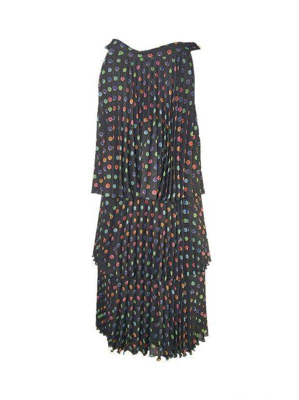 Платье Boutique Moschino трех ярусное гофре с принтом в виде камней
