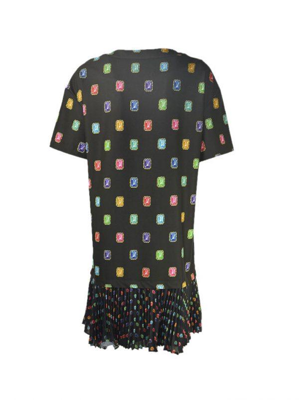 Платье Boutique Moschino черное с прином в виде камней низ гофре