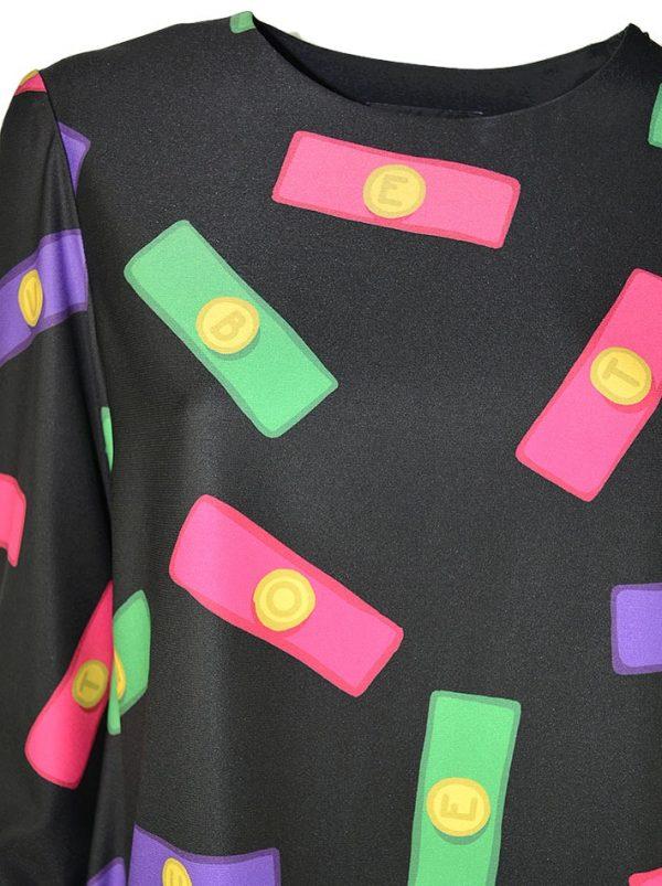 Платье Boutique Moschino черное с принтом в виде букв