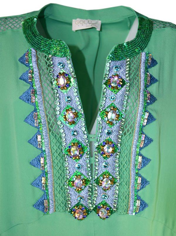 Платье Maria Grazia Severi шелковое с большими камнями и сеточкой