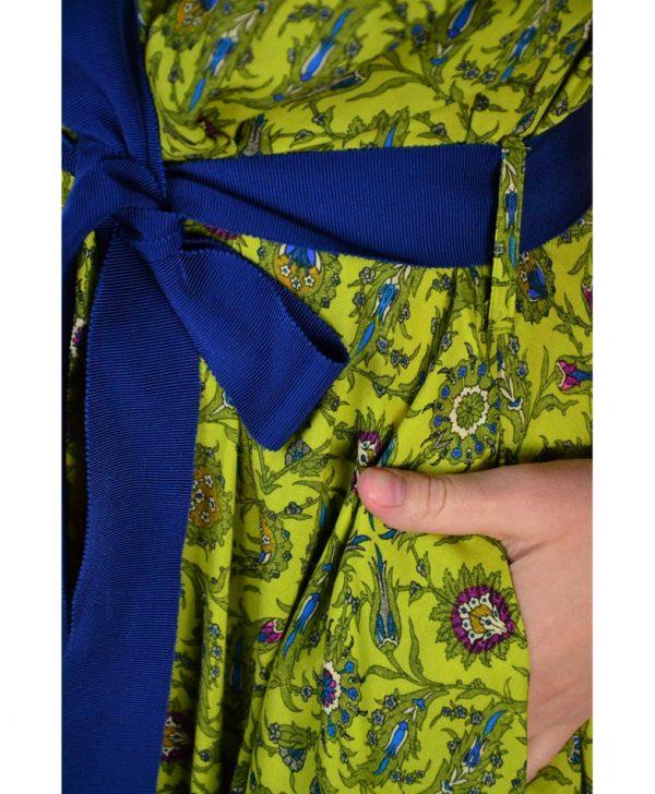 Платье Nolo в пол горчичного цвета с голубым поясом