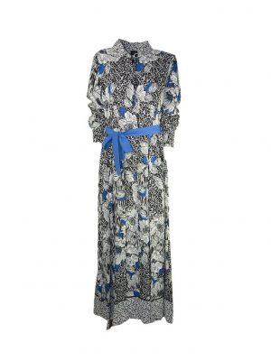 Платье Nolo цветного принта с синим поясом