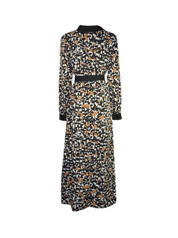 Платье Nolo черно-коричневое на пуговицах с поясом