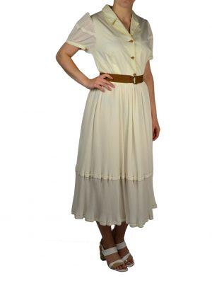 Платье Nolo c мелким плиссе и коричневым поясом