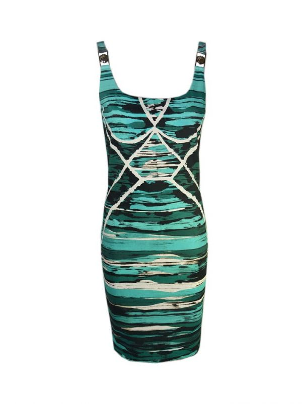 Платье Versace бирюзовое с белыми и зелеными разводами
