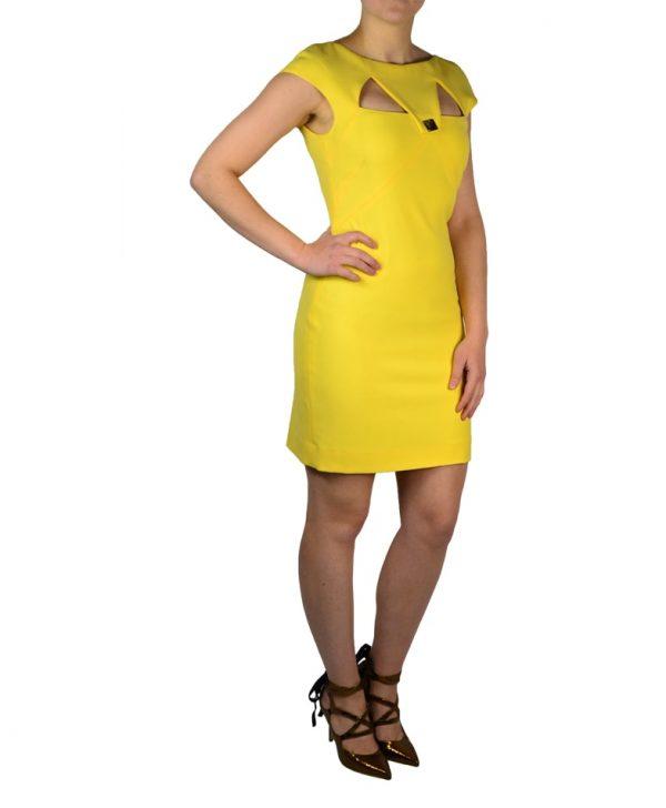 Платье Versace желтое с золотой клепкой на груди