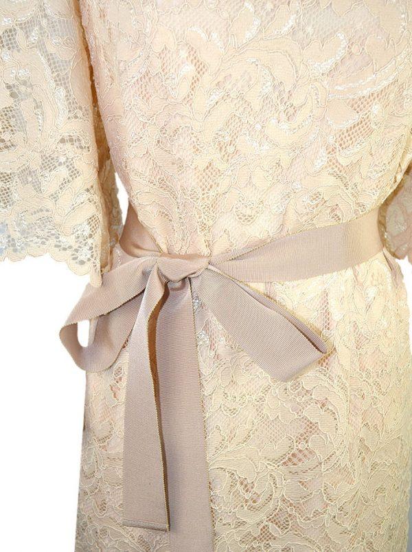 Платье Vuall бежевое в пол гипюровое