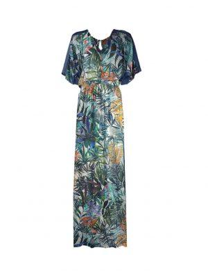 Платье Vuall в пол цветным принтом с джинсовыми боками