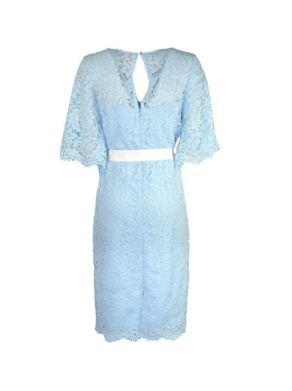 Платье Vuall голубое гипюровое с белым поясом