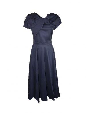 Платье Vuall темно-синее шелковое с бантом