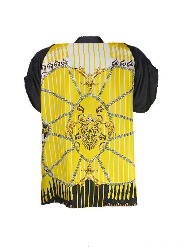 Рубашка Versace c принтом и золотыми клепками
