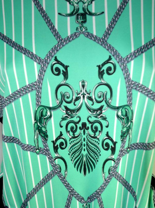 Туника Versace c принтом и бахромой