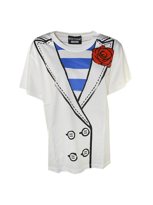 Футболка Boutique Moschino белая с принтом в стиле пиджака