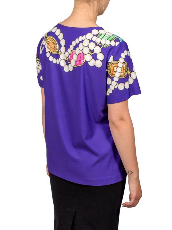 Футболка Boutique Moschino фиолетового цвета с принтом в виде жемчуга