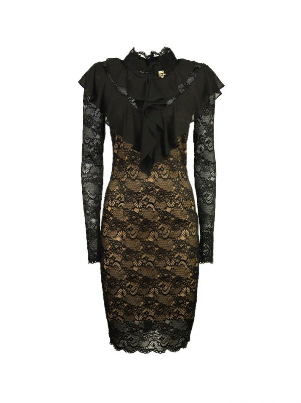 Платье Babylon гипюровое  приталенного силуэта с брошкой