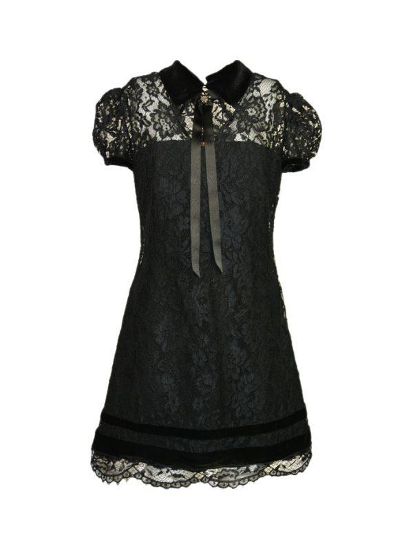 Платье Eureka черное кружевное с брошкой на воротнике