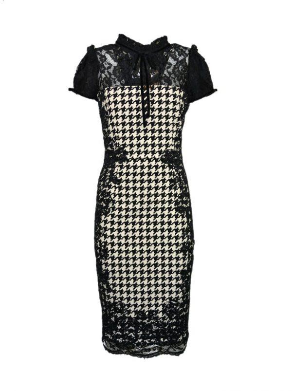Платье Eureka черно-белое с принтом и кружевом
