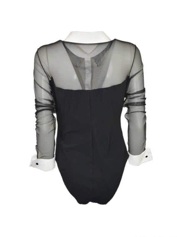 Боди Maria Grazia Severi черное сеткой с вышивкой и запонками