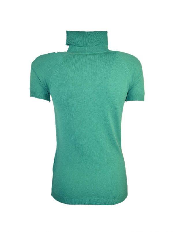 Водолазка Maria Grazia Severi зеленая на груди велюровая вышивка