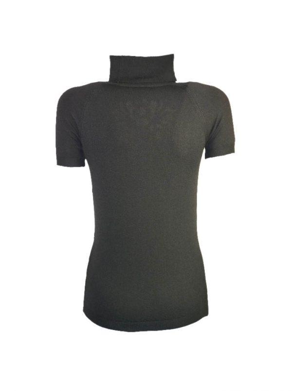 Водолазка Maria Grazia Severi черная на груди велюровая вышивка