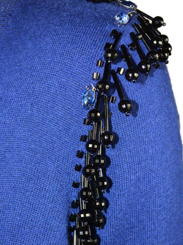 Двойка Maria Grazia Severi синяя вязаный трикотаж с люрексом по бокам бисер с камнями