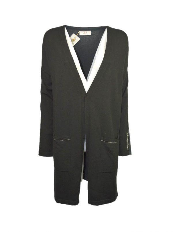 Кардиган VDP черный удлиненный с карманами