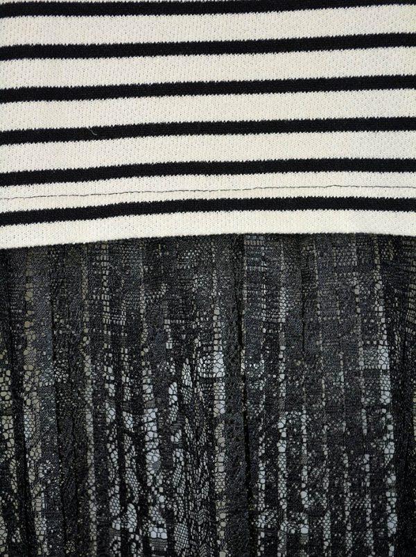 Кофта Imperial в черно-белую полоску с кружевным плиссе