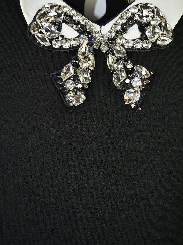 Кофта Maria Grazia Severi черная трикотажная с белым воротником и инкрустированной вышивкой