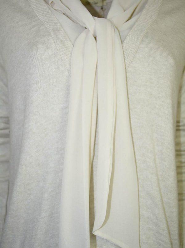 Кофта No-Na бежевая отделка шифон низ и воротник на завязках