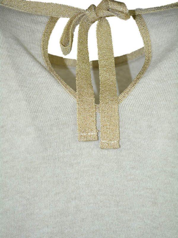 Кофта Suerte бежевая шерстяная с завязками на спине с люрексом по низу кружево