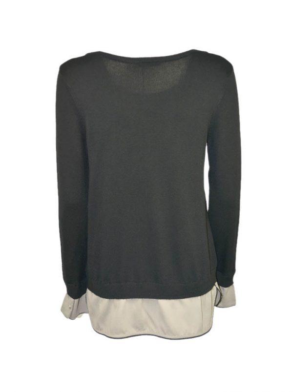 Кофта Suerte черная низ отделка под рубашку