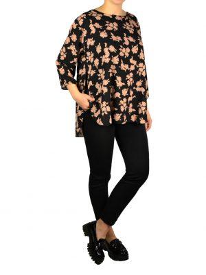 Кофта Suerte черная шелковая по бокам разрезы с цветочным  принтом