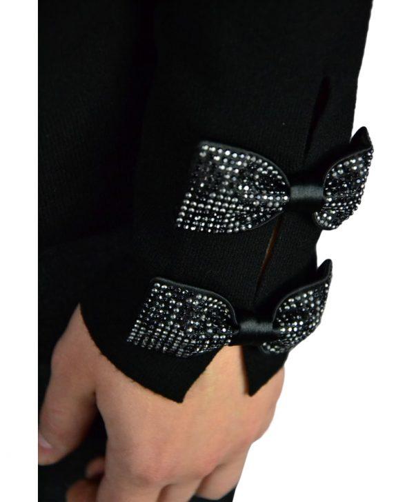 Кофта VDP черная с бантиками на рукавах сзади шелковая вставка