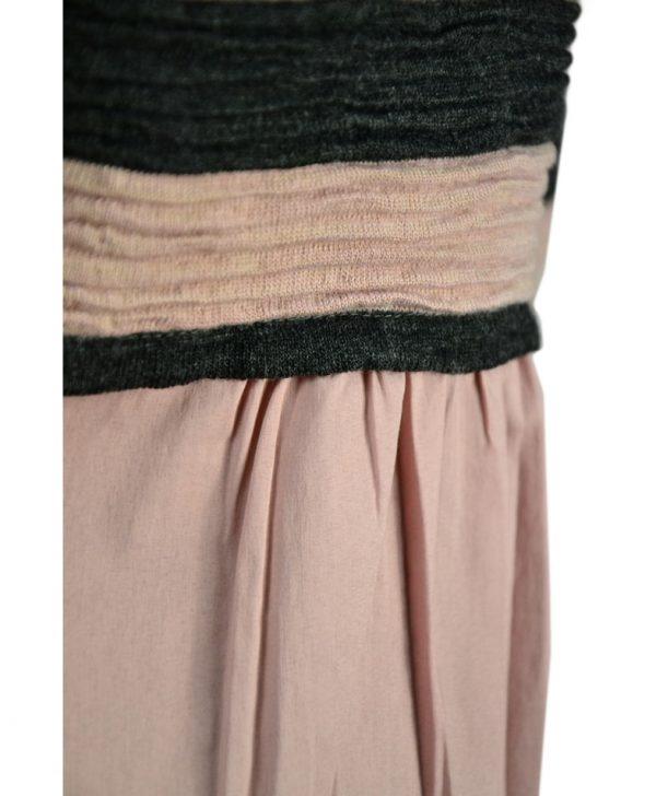 Кофта Vicolo в серо-розовую полоску на пуговицах сзади хлопковая вставка