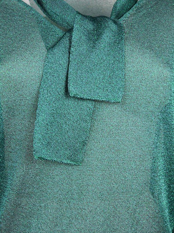 Кофта Vicolo зеленая с люрексом и завязкой на шее