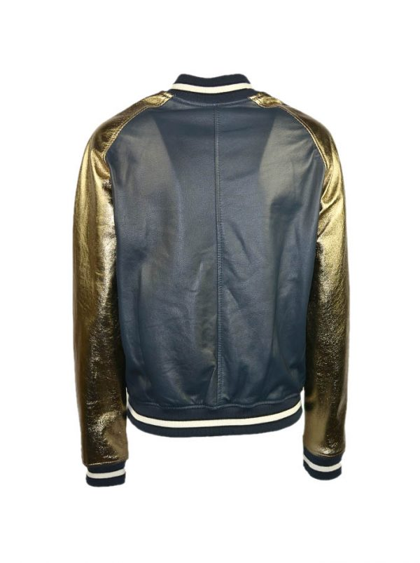Куртка-бомбер Imperial темно-синяя с золотыми рукавами